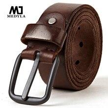 MEDYLA genuine leather belts for men Soft Natural Cowhide Mens Belt Hard Metal Metal Matt Black Buckle Real Leahter brown Belt