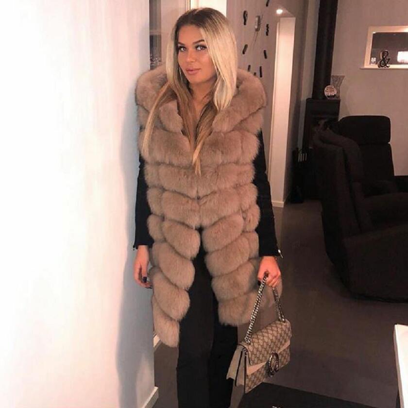 Real Fox fur Women Long Vest Hood Leather Fashion Luxury Thick Warm Coat Jacket Solid Color Fur Vests Women Coat Hooded