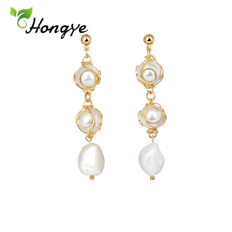 Pendientes colgantes de perlas de agua dulce para mujeres elegantes 14k Color oro moda Brincos borla colgante pendientes joyería nupcial Declaración