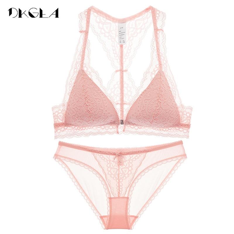 Fashion Women Underwear Set Sexy Ultrathin VS Pink Lingerie Lace Front Closure Bra Set Embroidery Black Brassiere Wire Free Bras
