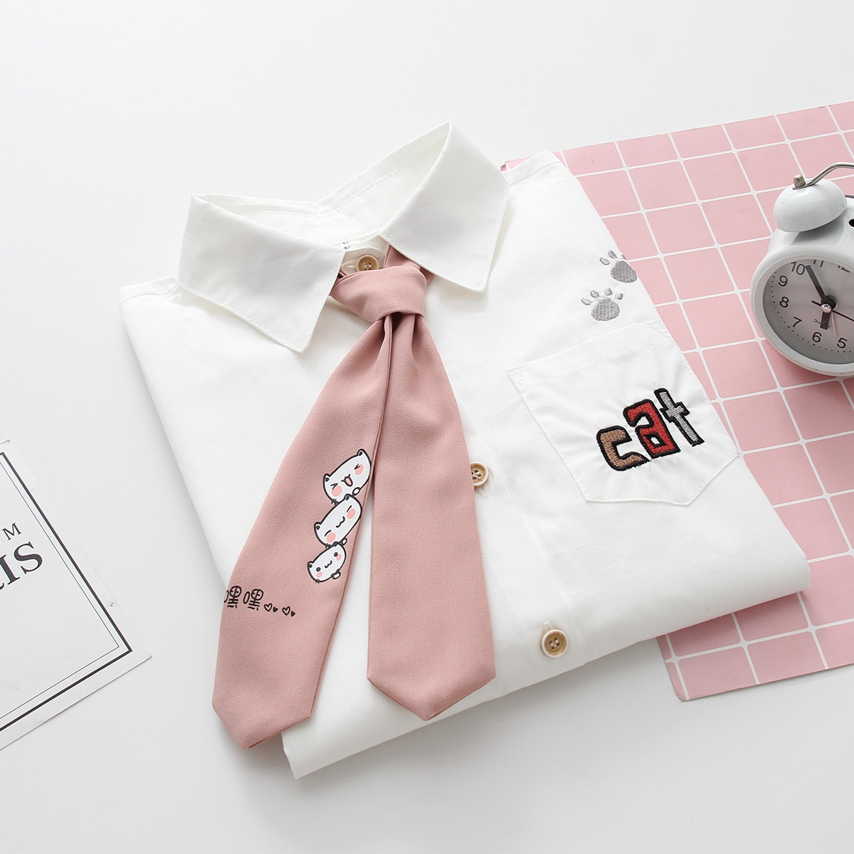 2019 otoño nuevas mujeres de manga larga adorables gatos bordado camisa blusa de algodón dulce corbata camisa Casual color blanco sólido