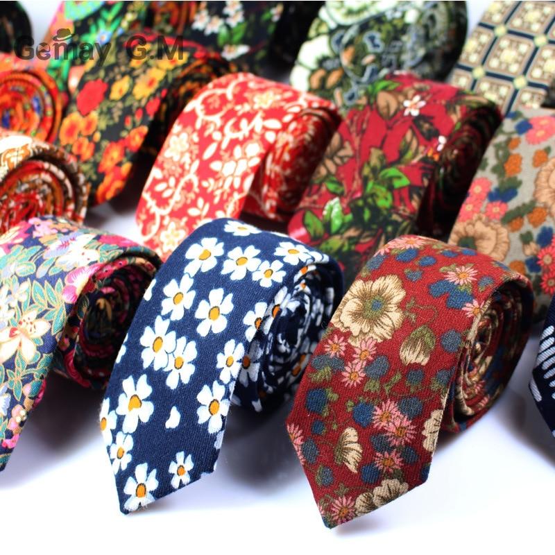 Los nuevos hombres s de algodón cepillado 6 cm lazo ocasional del lazo floral hombres y mujeres de la moda empate fábrica al por mayor