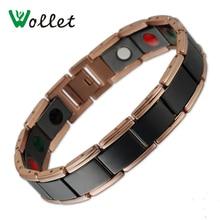 Wollet soins de santé Bio magnétique Bracelet en céramique noire Bracelet hommes en acier inoxydable Rose or couleur Germanium Tourmaline bijoux