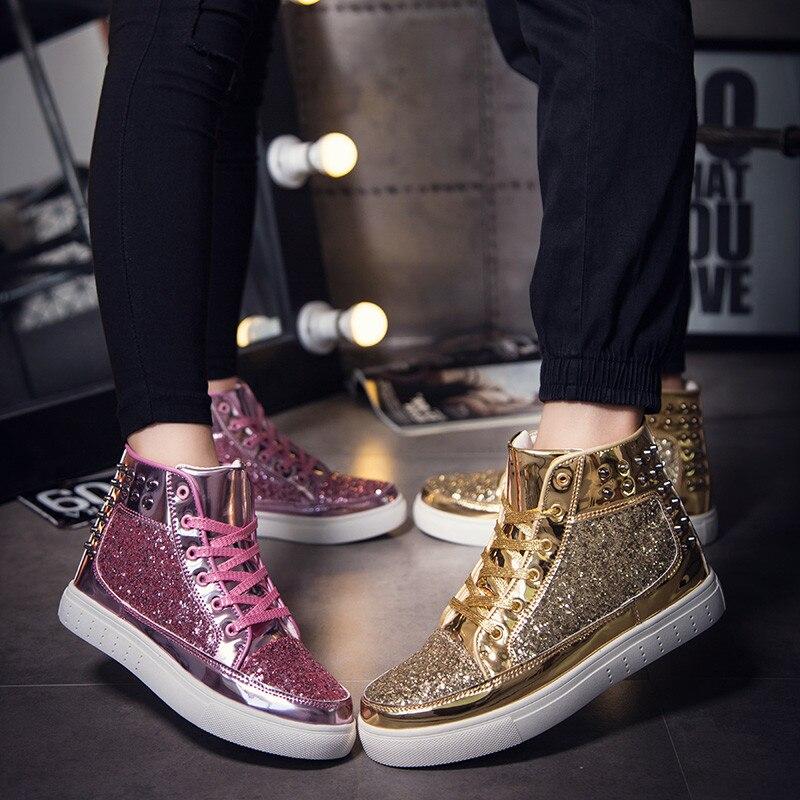 Золотая обувь для скейтбординга, 2019, женская и мужская обувь суперзвезды Гусь Кристиан с высоким берцем, блестки, парикмахер, пара обуви лубута красовки