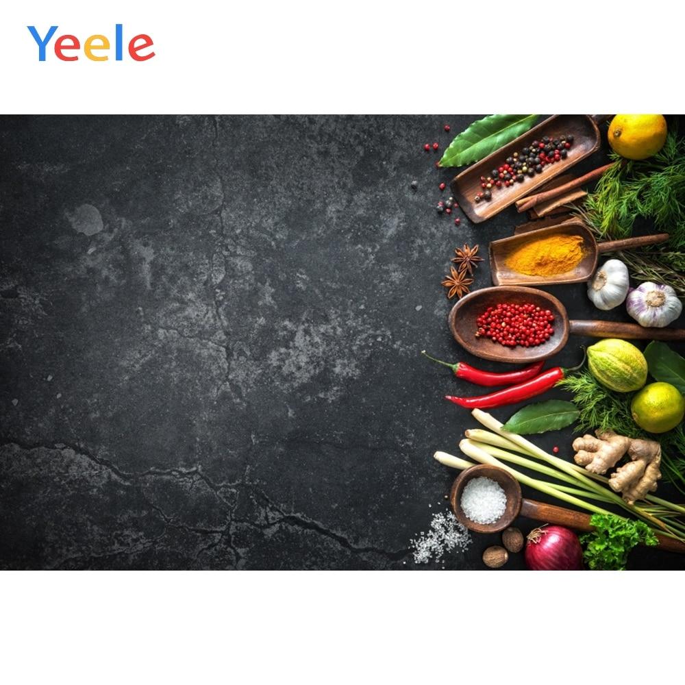 Yeele fotofone para alimentos parede de cimento escuro legumes frutas cozinha fotografia backdrops fotográfico estúdio