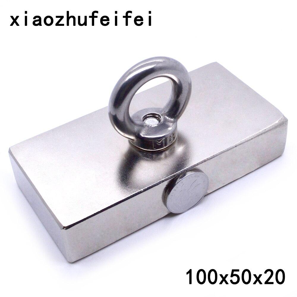 1pc ture n50 bloco 100x50x20mm salvamento magnético super forte de alta qualidade ímãs de terra rara ímã de neodímio 100*50*20mm