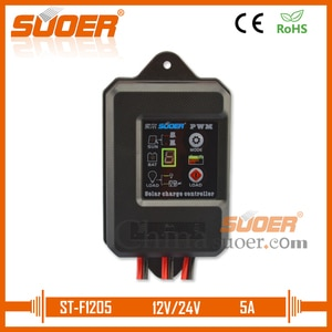 Suoer【 PWM Charge Controller 】 IP67 Grade Waterproof controller 12V 24V 5A PWM Solar Charge Controller (ST-F1205)