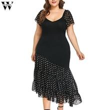 Womail Dress New Fashion Women Plus Size O-Neck Short Sleeve Asymmetric Chiffon Pots Polka dot irregular Dresses vestidos  May6