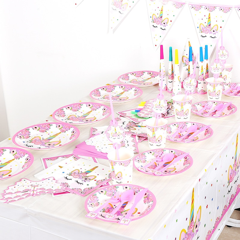 pink unicorn cartoon animal theme boy girl birthday party holiday party paper cup paper tray pull fl