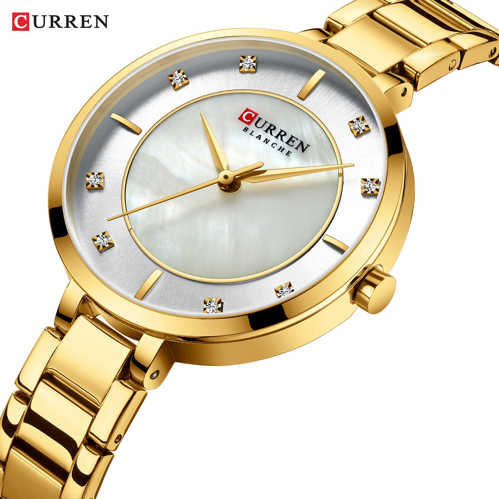 CURREN 2019 Womens Watches Golden Rhinestone Analog Round Quartz Watch Dress Bracelet Chain Waterproof Lady Wristwatch Dropship