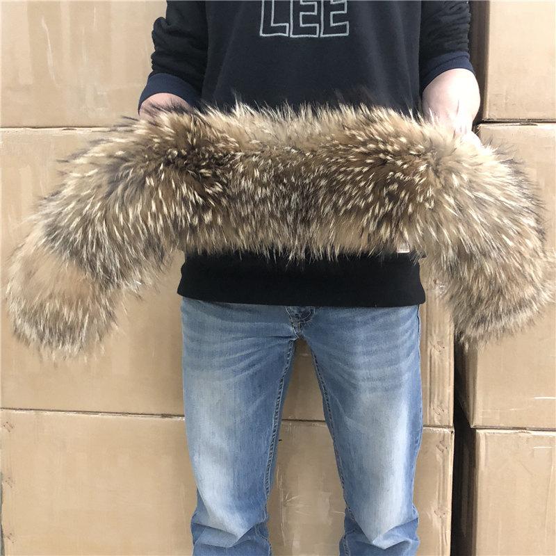 Natural Fur Collar 100% real Raccoon Fur Scarf For Men's Women's kids Parkas Coats Male furs Collars Black 50 60 70 90 cm