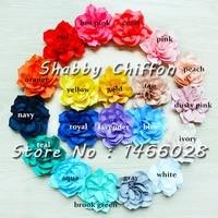 30 pcs lot   3 5 lotus headband flowers  shabby flowers headband  20 colors for chose