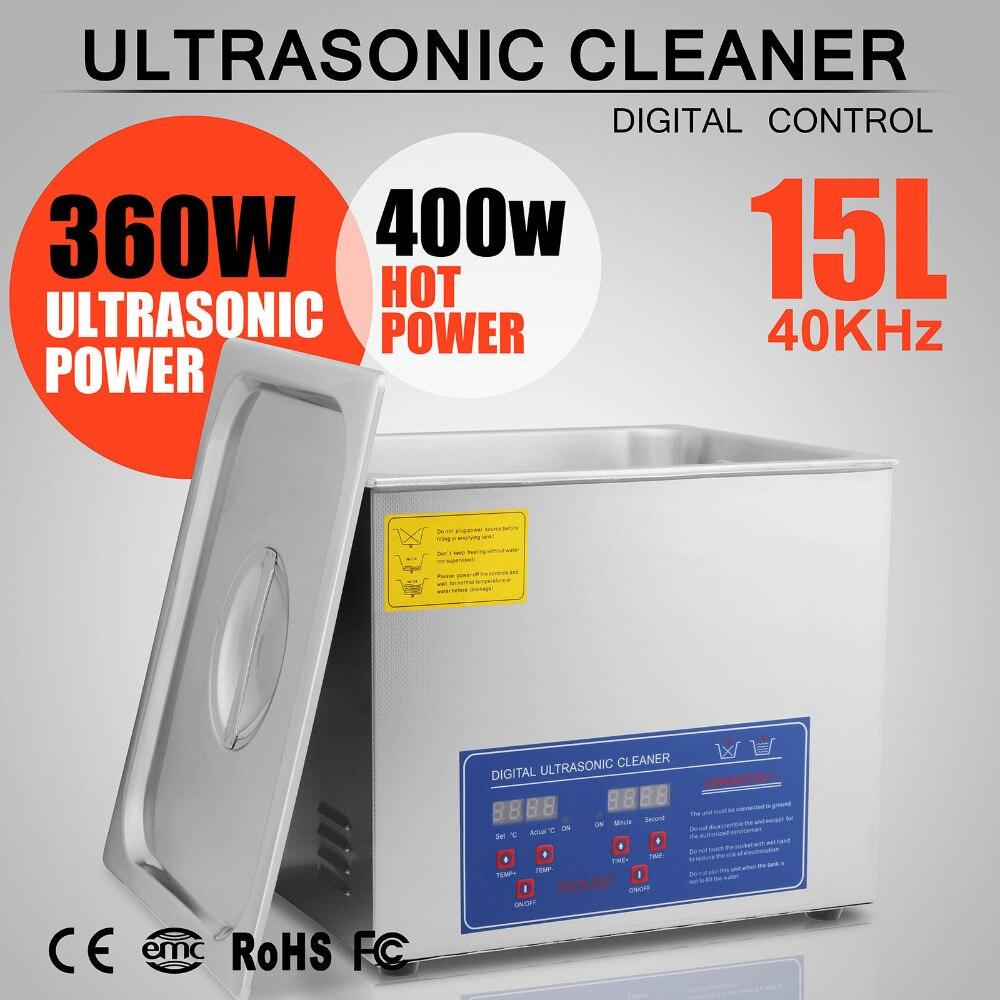 15 L litro de acero inoxidable Industria limpiador climatizada limpiar gafas de limpieza por ultrasonidos máquinas