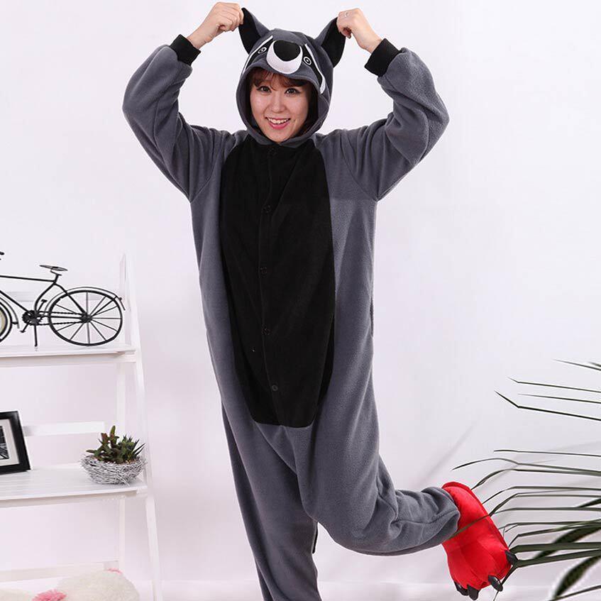 Costume de Cosplay adulte dessin animé Animal gris raton laveur Onesie unisexe Onesie pyjamas Cosplay Costumes vêtements de nuit