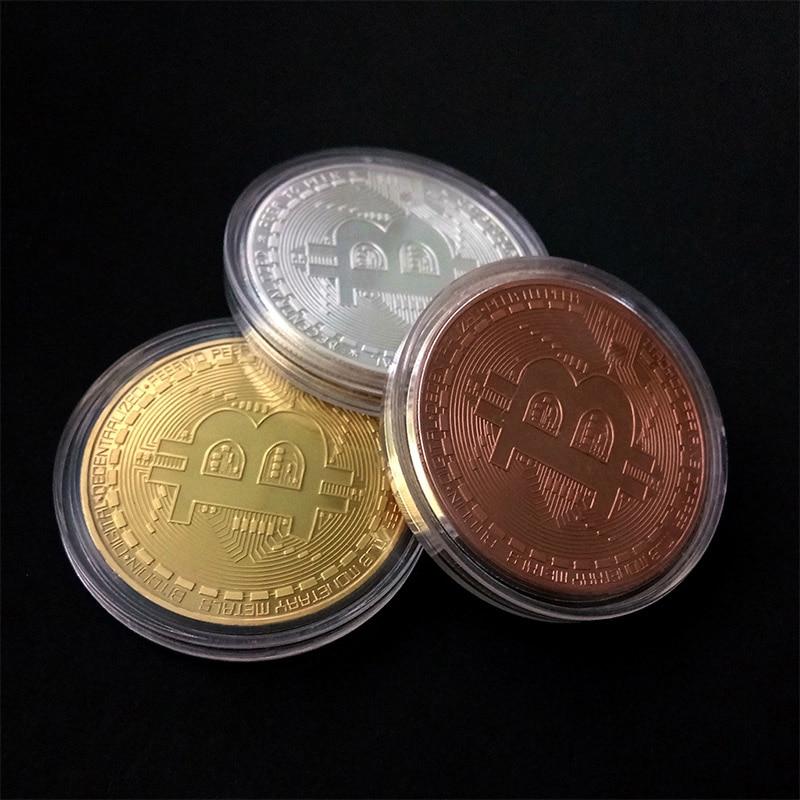 1pcs Gold Plated Bitcoin Coin Collectible Art Collection Gift Physical Commemorative Casascius Bit Btc Metal Antique Imitation Blockchain Shopping Center