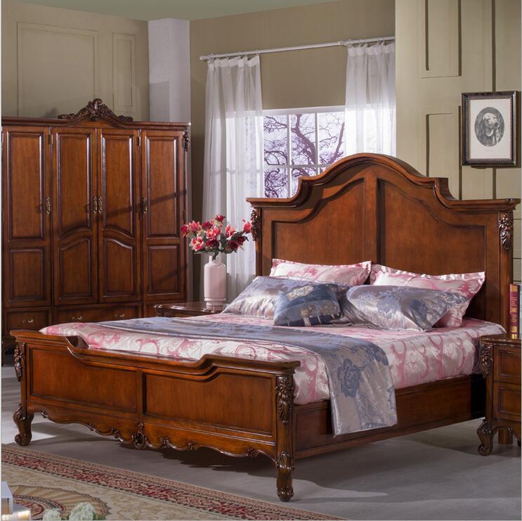 Cama de madera americana, mueble cama doble estilo country americano clásico europeo, 1,8 m 10291