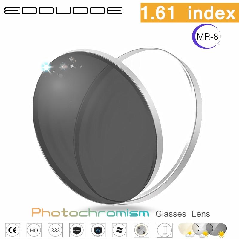 1,61 índice visión única asféricos lente fotocrómica MR-8 receta miopía la presbicia gafas lente Anti-radiación