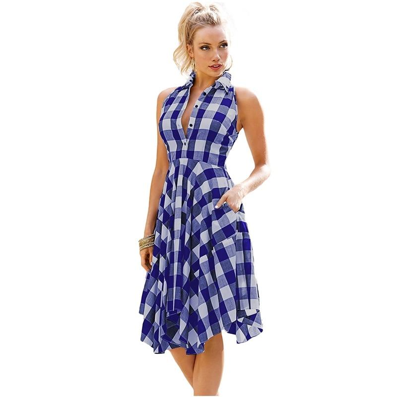 Женская одежда, расклешенное летнее платье-рубашка в клетку, винтажное платье для отдыха, платье-рубашка длиной до колен, Vestidos