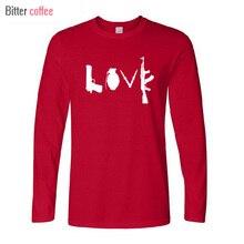 Nouveau Autunno inverno Nuovo Banksy Amore Armi coton T-shirt décontracté à manches longues et hommes hauts et t-shirts taille européenne