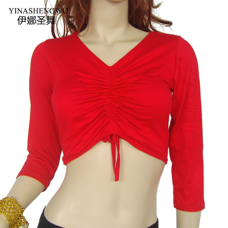 YI NA SHENG WU Smocked Top de danza del vientre de manga larga, ropa de práctica de danza del vientre cuadrado de algodón Top