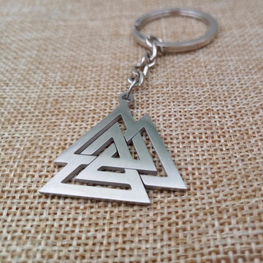 Sanlan aço inoxidável noruega valknut chaveiro símbolo de odin jóias masculino viking talismã chaveiro amuleto