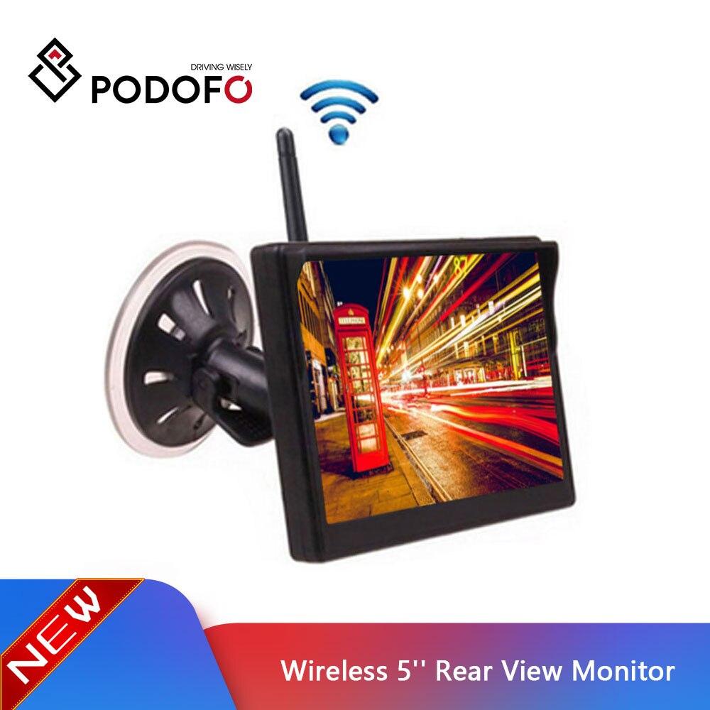 Monitor de vista trasera Digital a Color TFT de 5 pulgadas inalámbrico Podofo con 2 entradas de vídeo en el salpicadero para cámara de respaldo