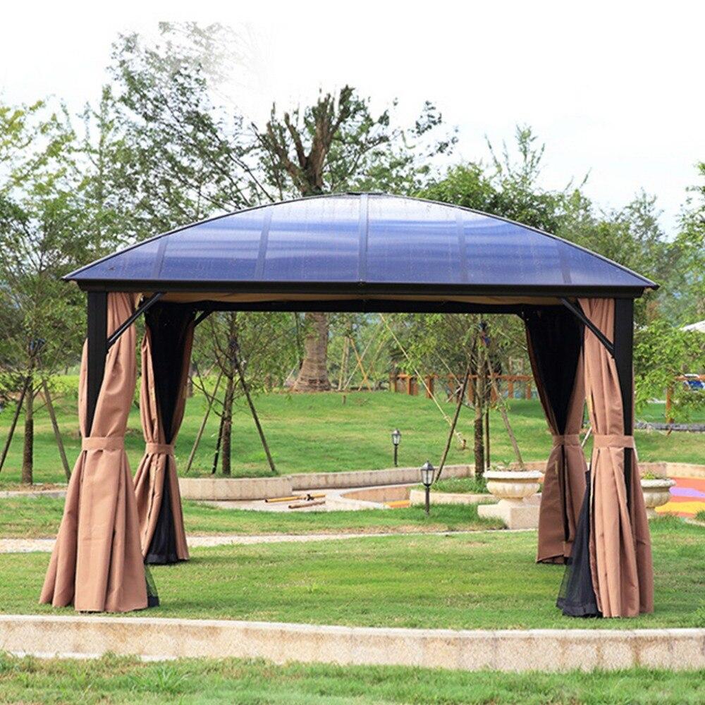 في الهواء الطلق شرفة حديقة 12 'x 12' مظلة الباحات دائم الألومنيوم هاردتوب البعوض المعاوضة | الشرفة الأمامية والرمل