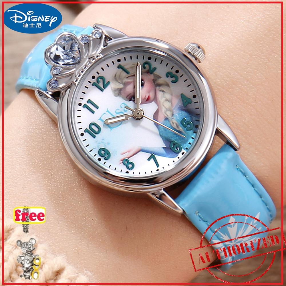 Congelado Elsa Princesa Menina Rosa Azul Cor do Relógio De Cristal De Luxo Amor Menina Bonita Neve Disney Criança Relógios Estilo Moda top