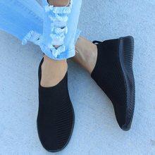 Femmes baskets tricotées respirant tricot chaussures plates femme sans lacet femmes chaussures vulcanisées sport femme été mocassins chaussures