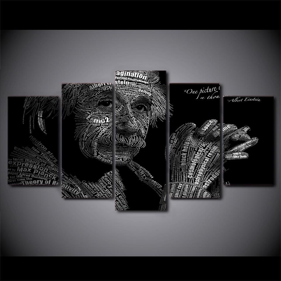 Cuadro de lienzo con imagen impresa en HD de Albert Einstein con 5 paneles de ecuaciones de física para pared
