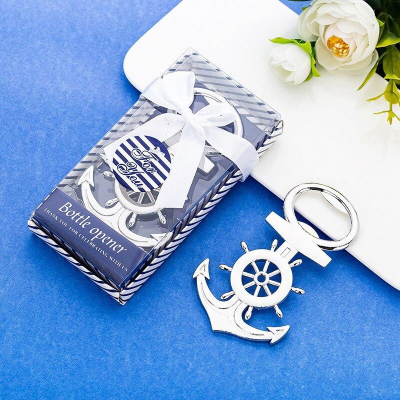 400 unids/lote regalo de recuerdo de boda y obsequio para invitados-abridor de botellas de ancla de plata abridor de cerveza recuerdo de la fiesta