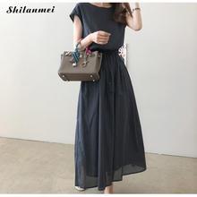 Letnia sukienka z długim rękawem kobiety sukienka bawełniana z krótkim rękawem na co dzień elegancka sukienka maxi w stylu Vintage stałe luźna długie sukienki plażowe szata Femme