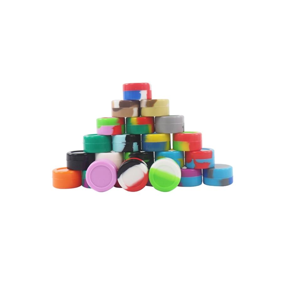 100pcslot 5ml wax silicone container dab cigarette cream silicone jar travel friendly cigarette and hooka accessory mix colors