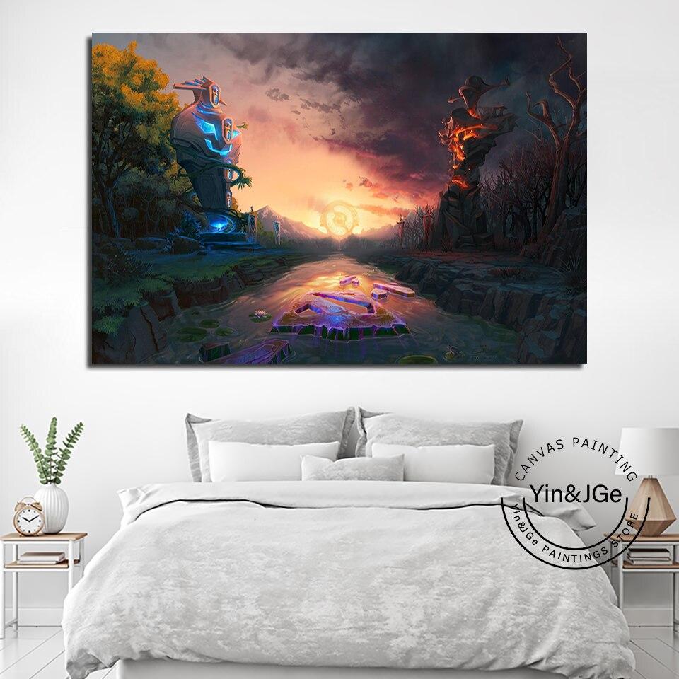 Popular 1 painel dota 2 jogo lona impressa pintura para sala de estar arte da parede decoração casa hd imagem obras de arte moderno cartaz
