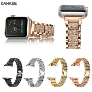 DAHASE Shiny Diamond Stainless Steel Metal Bracelet for Apple Watch Band 42mm 38mm Replacement Crystal Strap for Series 1/2/3