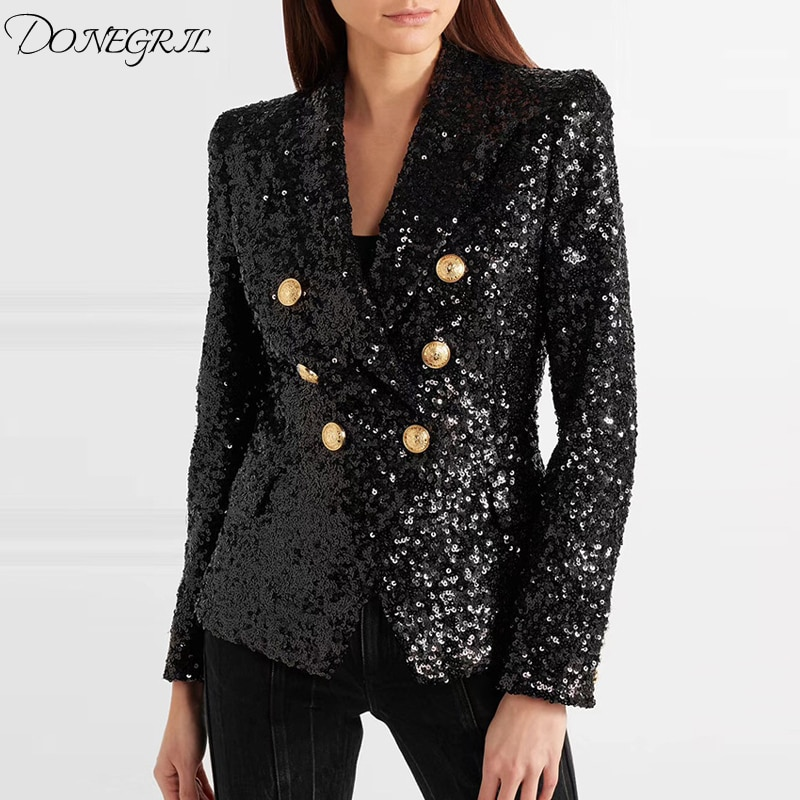 Elegante 2020 runway blazer feminino duplo breasted metal leão botões lantejoulas glitter blazer jaqueta