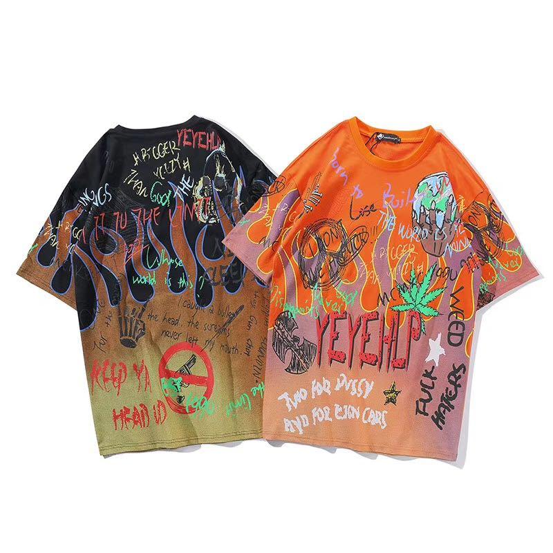 Graffiti fuego llama Streetwear camisetas 2019 hombres Hip Hop pantalón corto casual manga camisetas hombre Harajuku moda camisetas