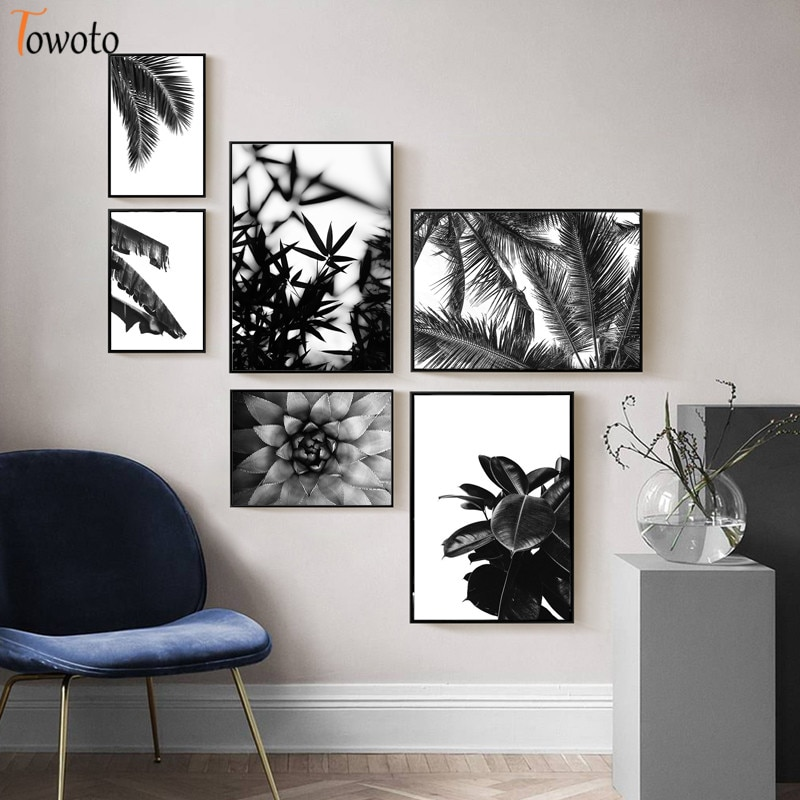 Cactus estampado botánico Agave, arte de pared Tropical, pintura en lienzo, blanco y negro, planta natural, decoración de carteles, fotos sin marco