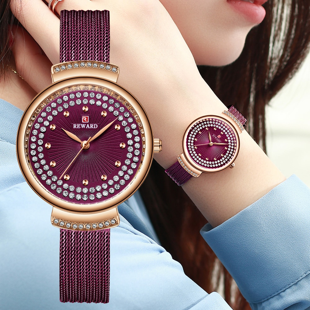 مكافأة أزياء النساء الساعات الفاخرة حجر الراين الهاتفي السيدات ووتش الفولاذ المقاوم للصدأ ضئيلة الكوارتز ساعة اليد Reloj موهير Montre فام