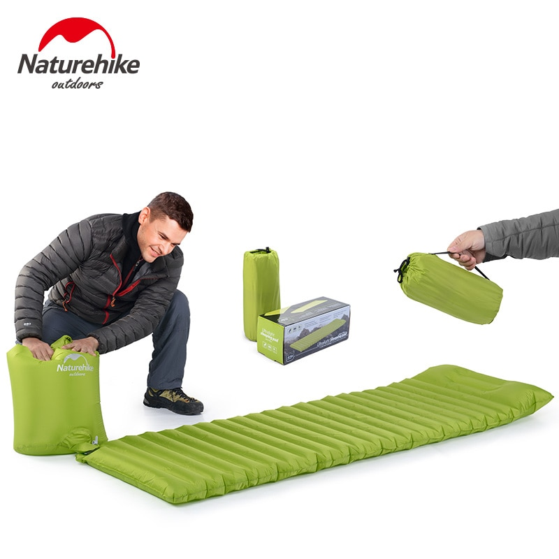 Colchón inflable ultraligero Naturehike para dormir, colchón de aire para tienda de campaña al aire libre, esterilla para acampar con almohada, bolsa de aire