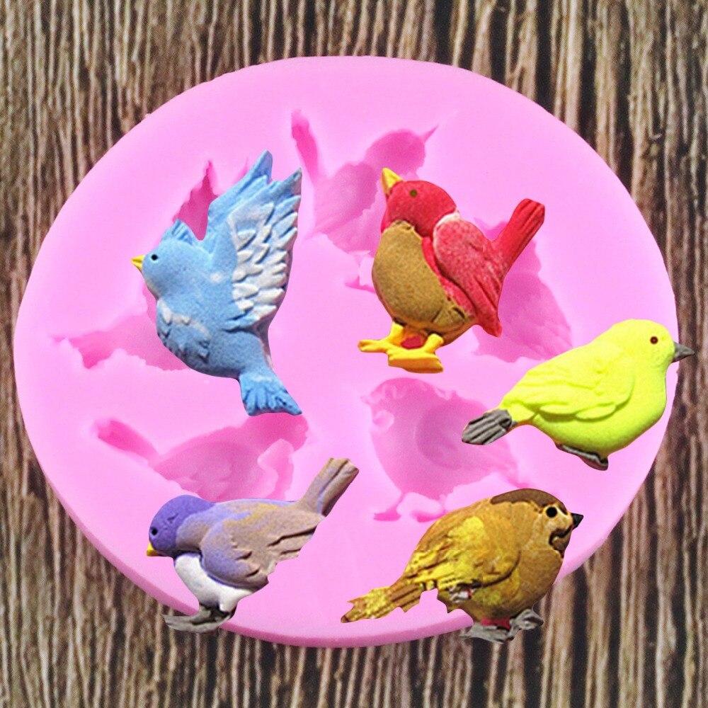 Pigeon Birds Chocolate Party DIY Fondant herramientas de decoración de pasteles horneados molde de silicona Fondant para Tartas de azúcar moldes artesanales