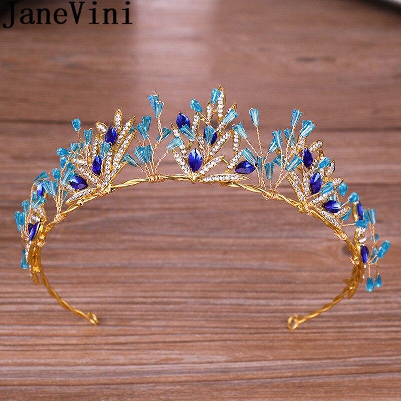 JaneVini, corona de Novia de cristal azul barroco, Tiaras de Novia, accesorios...
