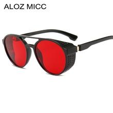 ALOZ MICC-lunettes de soleil Punk rétro   SteamPunk de marque pour femmes, lunettes de soleil à maille latérale ronde pour hommes, rouge gris, lentille UV400 Q393, nouvelle collection 2019