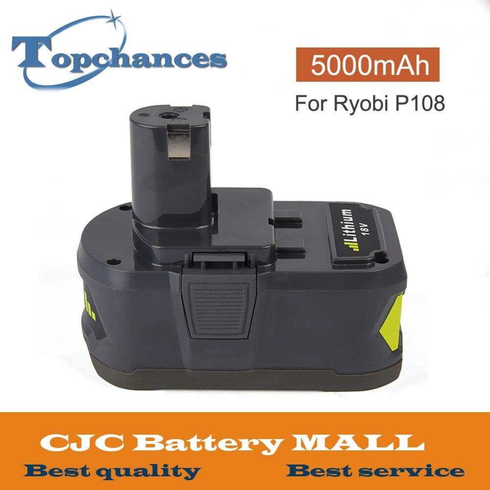 De alta capacidad nuevo 18V 5000mAh Li-Ion para Ryobi caliente P108 RB18L40 pack de batería recargable batería de la herramienta eléctrica para Ryobi +