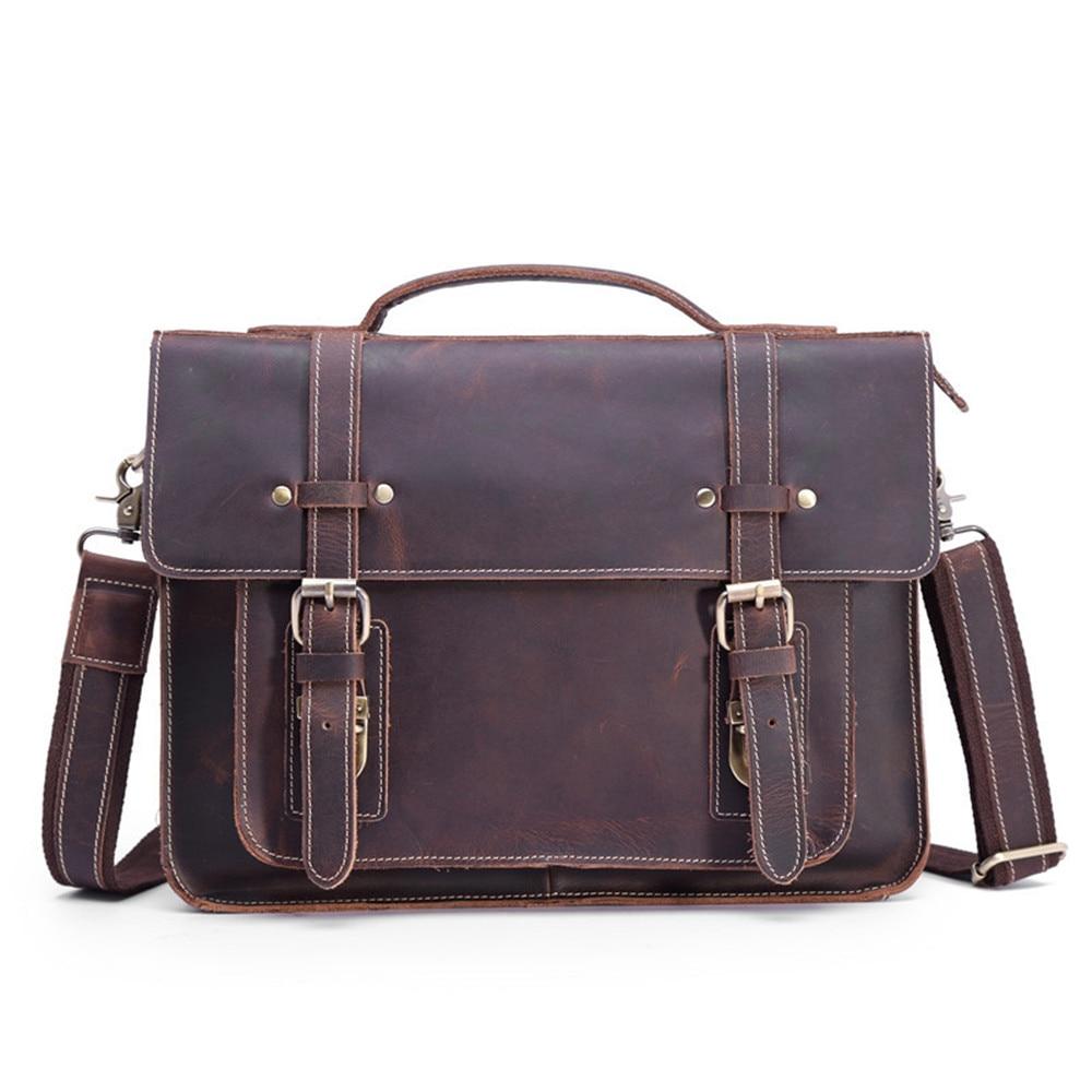 Genuine Leather Messenger Bag 13 Inch Laptop Briefcase Real Leather Shoulder Handbag Bag for IPAD Cross body Large Capacity Tote