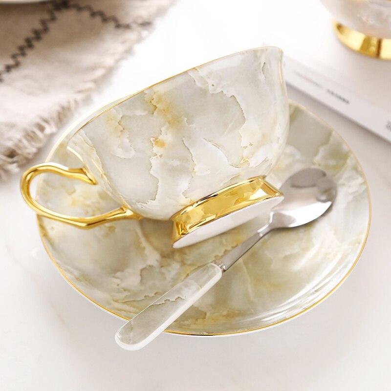 High grade describe golden coffee cup  English black tea cup  European style ceramic coffee cup  saucer afternoon tea  gift box