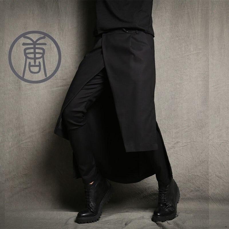S-5XL!! culottes calça jeans boot cut Masculinos tendência calças trajes saia novidade harém calças casuais