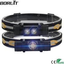 BORUiT XM-L2 LED Mini Faro de alta potencia 1000lm faro 18650 recargable cabeza linterna Camping caza linterna impermeable