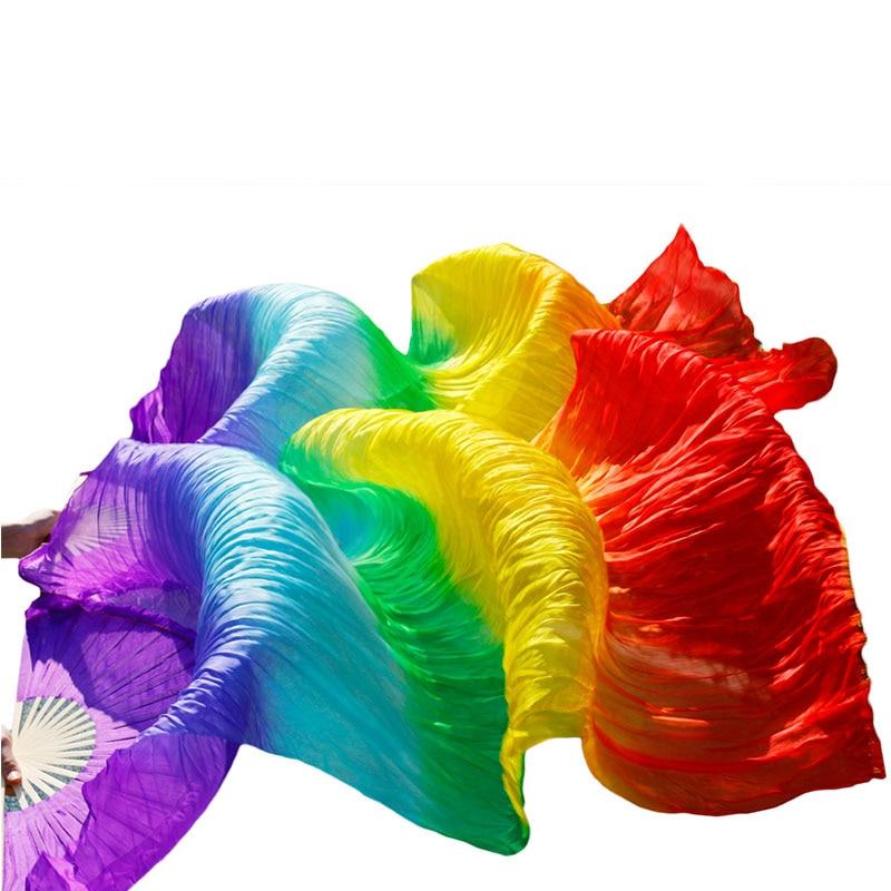 Abanicos del baile hechos a mano 100% seda Natural 1 par de abanicos para danza del vientre púrpura + azul real + turquesa + verde + amarillo + naranja + rojo colores
