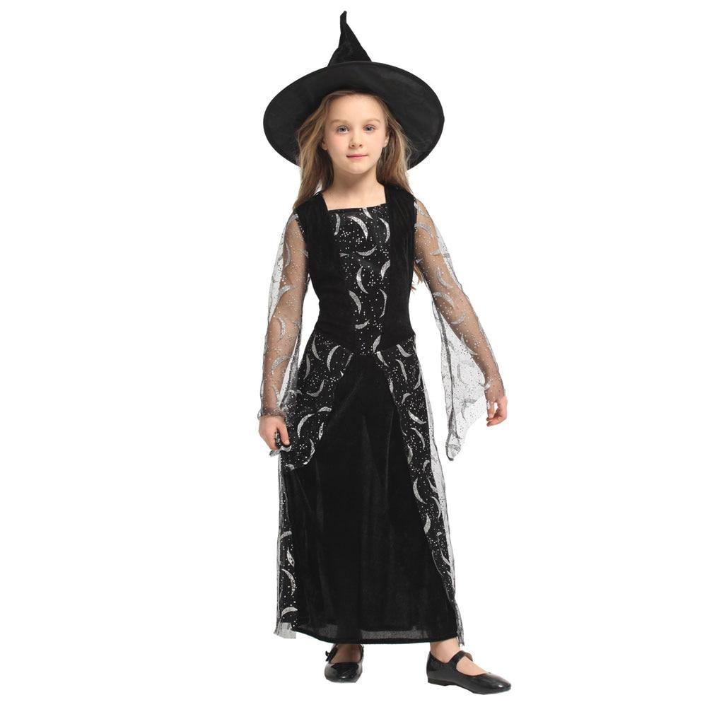 Brillo plata Luna bruja chica traje de bruja celeste para niñas niño Halloween carnaval fiesta Mardi Gras vestido de fantasía